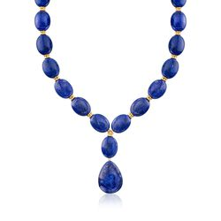 Lapis Bead Y-Necklace With 18kt Gold Over Sterling Silver, , default