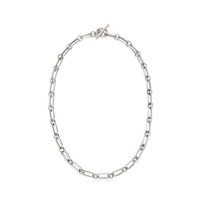 Italian Sterling Silver Paper Clip Link Toggle Necklace