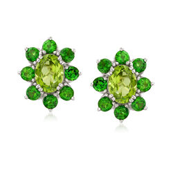 2.90 ct. t.w. Peridot and 2.00 ct. t.w. Chrome Diopside Halo Drop Earrings in Sterling Silver, , default
