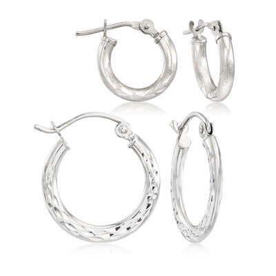 Mom & Me Hoop Earring Set of 2 in 14kt White Gold, , default