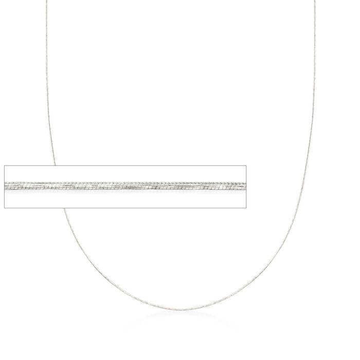 """.8mm 14kt White Gold Adjustable Snake Chain Necklace. 22"""", , default"""