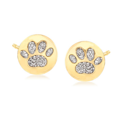 .15 ct. t.w. Diamond Paw Print Stud Earrings in 18kt Yellow Gold Over Sterling Silver