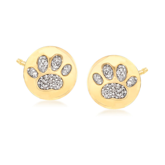 .15 ct. t.w. Diamond Paw Print Stud Earrings in 18kt Yellow Gold Over Sterling Silver, , default