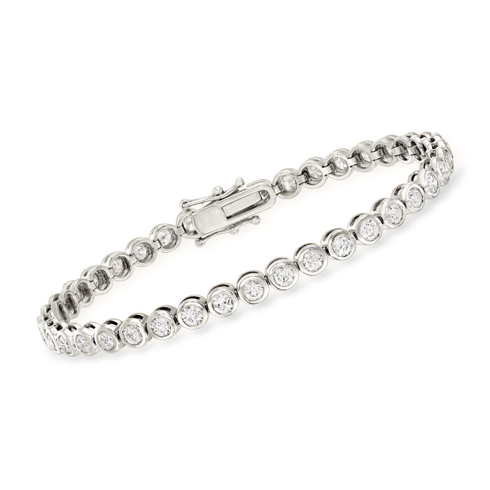 5.00 ct. t.w. Bezel-Set Diamond Tennis Bracelet in 14kt White Gold, , default