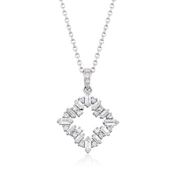 ".55 ct. t.w. CZ Open Square Pendant Necklace in Sterling Silver. 16"", , default"