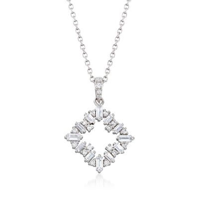 .55 ct. t.w. CZ Open Square Pendant Necklace in Sterling Silver, , default
