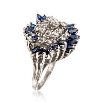 C. 1970 Vintage 3.60 ct. t.w. Sapphire and 1.30 ct. t.w. Diamond Ring in 14kt White Gold . Size 7, , default
