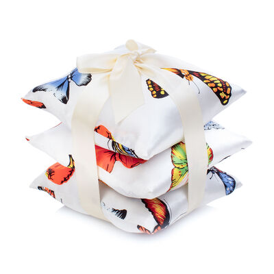 Set of 3 Butterfly Silk Sachet Pillows, , default
