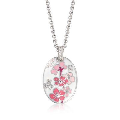 "Belle Etoile ""Constellations: Sakura"" Pink Enamel and .25 ct. t.w. CZ Pendant in Sterling Silver, , default"