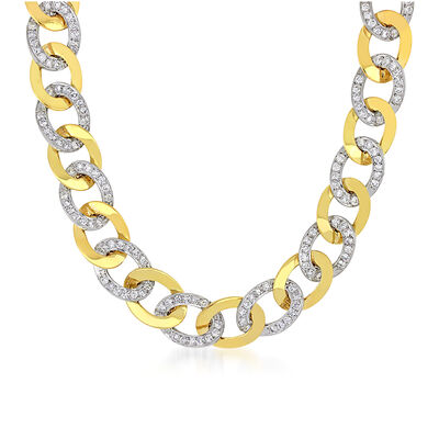 11.35 ct. t.w. Diamond Curb-Link Necklace in 14kt Two-Tone Gold