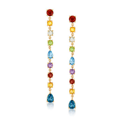 6.90 ct. t.w. Multi-Gemstone Linear Drop Earrings in 18kt Gold Over Sterling, , default