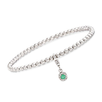 .10 Carat Emerald and Diamond-Accented Removable Charm Stretch Bracelet in Sterling, , default