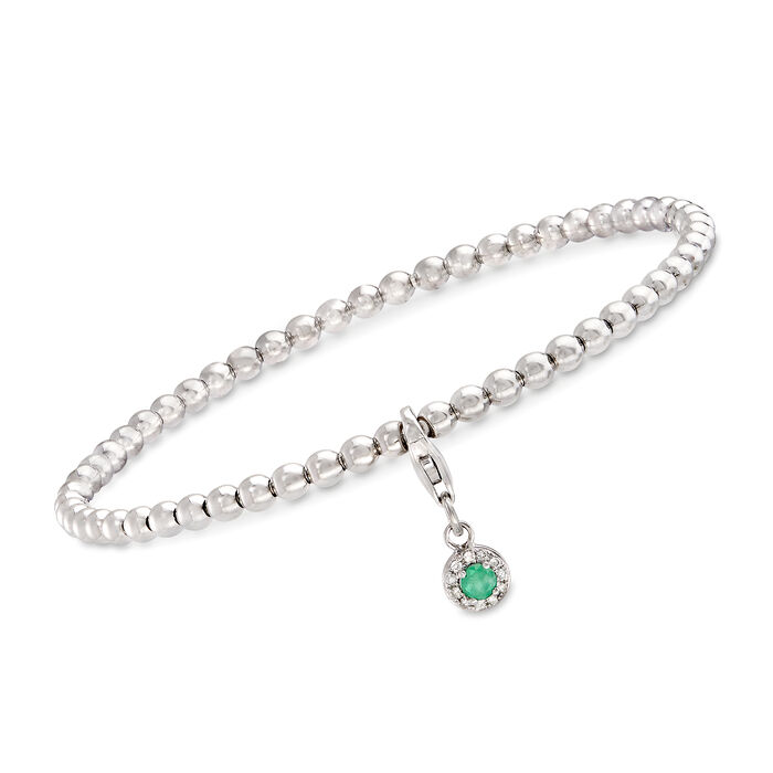 """.10 Carat Emerald and Diamond-Accented Removable Charm Stretch Bracelet in Sterling. 7"""", , default"""
