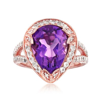 4.50 Carat Amethyst and 1.40 ct. t.w. White Topaz Ring with Diamonds in 14kt Rose Gold Over Sterling