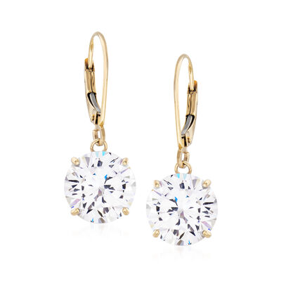 8.00 ct. t.w. CZ Drop Earrings in 14kt Yellow Gold, , default