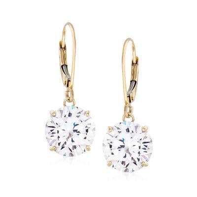 8.00 ct. t.w. CZ Drop Earrings in 14kt Yellow Gold, , default