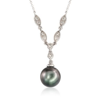 """9-10mm Cultured Tahitian Pearl and .16 ct. t.w. Diamond Necklace in 14kt White Gold. 16"""", , default"""