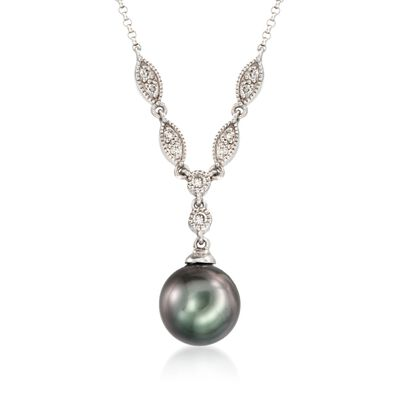 9-10mm Cultured Tahitian Pearl and .16 ct. t.w. Diamond Necklace in 14kt White Gold, , default