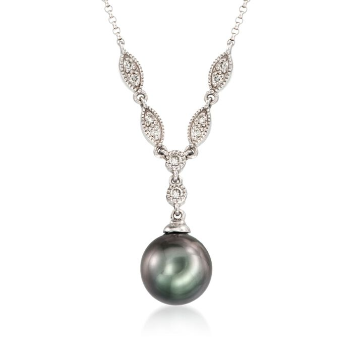 "9-10mm Cultured Tahitian Pearl and .16 ct. t.w. Diamond Necklace in 14kt White Gold. 16"", , default"