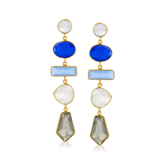 12.80 ct. t.w. Multi-Gemstone Drop Earrings in 18kt Gold Over Sterling