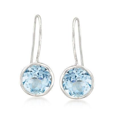 8.00 ct. t.w. Blue Topaz Drop Earrings in Sterling Silver , , default