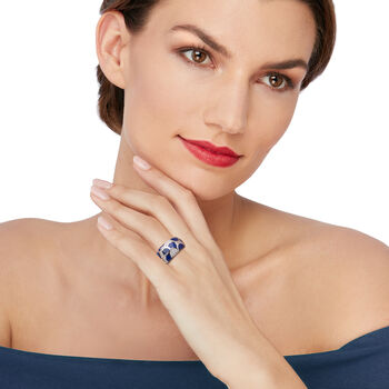 """Belle Etoile """"Adina"""" Lapis and .29 ct. t.w. CZ Ring in Sterling Silver, , default"""