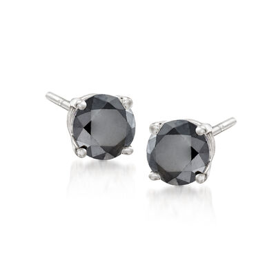2.00 ct. t.w. Black Diamond Stud Earrings in Sterling Silver, , default
