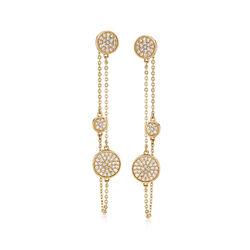 .50 ct. t.w. Diamond Front-Back Drop Earrings in 14kt Yellow Gold , , default