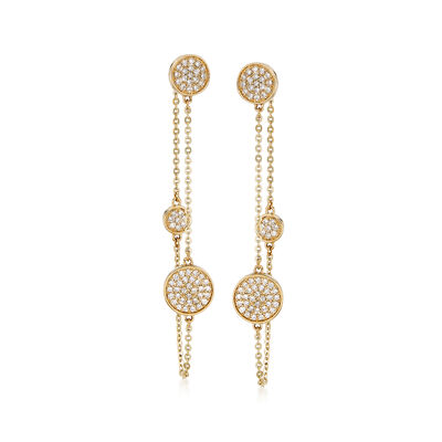 .50 ct. t.w. Diamond Front-Back Drop Earrings in 14kt Yellow Gold , , default