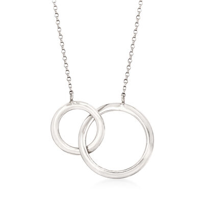 Italian Sterling Silver Interlocking Circles Necklace, , default