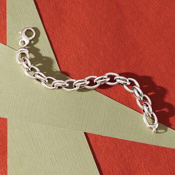 "Italian Sterling Silver Textured and Polished Oval-Link Bracelet. 8.5"", , default"
