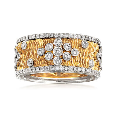 C. 1990 Vintage 1.20 ct. t.w. Diamond Ring in 18kt Yellow and White Gold