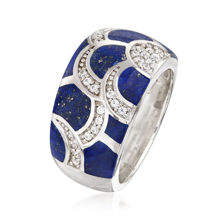 """Belle Etoile """"Adina"""" Lapis and .29 ct. t.w. CZ Ring in Sterling Silver"""