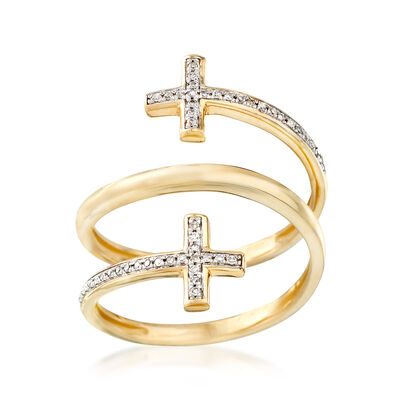 .10 ct. t.w. Diamond Coiled Double Cross Ring in 14kt Yellow Gold, , default