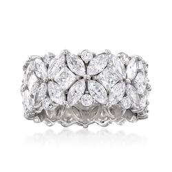 T W Multi Shaped Cz Eternity Band In Sterling Silver Default