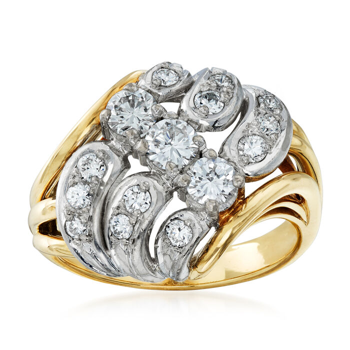 C. 1980 Vintage 1.00 ct. t.w. Diamond Cluster Ring in 14kt Two-Tone Gold. Size 7.5