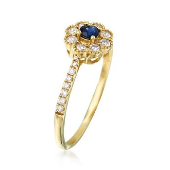 .10 ct. t.w. Sapphire and .38 ct. t.w. Diamond Ring in 14kt Yellow Gold