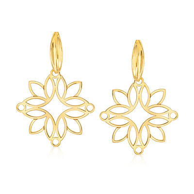 14kt Yellow Gold Openwork Floral Drop Earrings