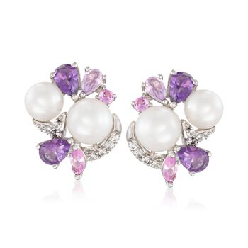 6-8mm Cultured Pearl and 2.30 ct. t.w. Multi-Stone Earrings in Sterling Silver, , default