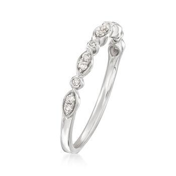 Henri Daussi .11 ct. t.w. Diamond Wedding Ring in 14kt White Gold