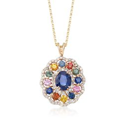 "3.70 ct. t.w. Multicolored Sapphire and .84 ct. t.w. Diamond Pendant Necklace in 14kt Yellow Gold. 16"", , default"