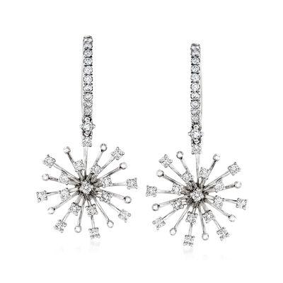 .77 ct. t.w. Diamond Burst Drop Earrings in 14kt White Gold