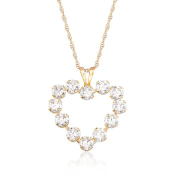 1.20 ct. t.w. CZ Open-Space Heart Pendant Necklace in 14kt Yellow Gold, , default
