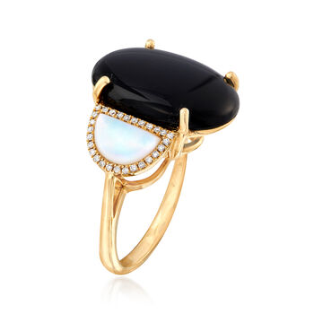 Black Onyx and Mother-Of-Pearl Ring with .16 ct. t.w. Diamonds in 14kt Yellow Gold. Size 7, , default
