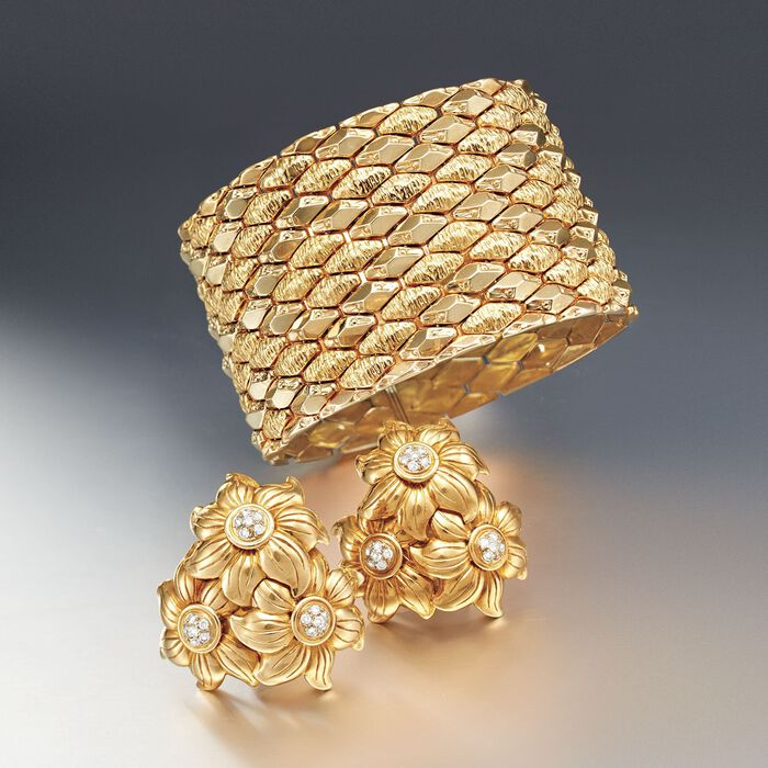 C. 1970 Vintage .90 ct. t.w. Diamond Floral Cluster Clip-On Earrings in 18kt Yellow Gold