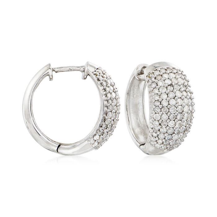 "2.03 ct. t.w. Diamond Hoop Earrings in Sterling Silver. 3/4"", , default"