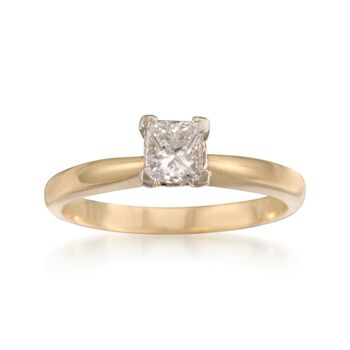 C. 2000 Vintage .50 Carat Diamond Solitaire Engagement Ring in 14kt Yellow Gold. Size 5.75, , default