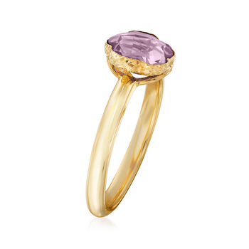 Italian 1.60 Carat Amethyst Flower Ring in 14kt Yellow Gold, , default