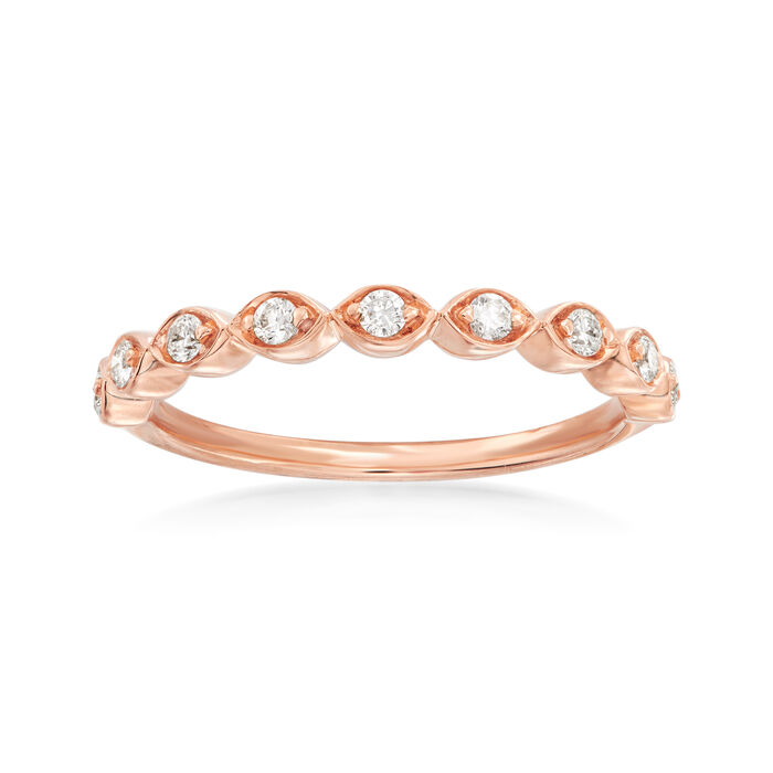 Henri Daussi .17 ct. t.w. Diamond Wedding Ring in 14kt Rose Gold