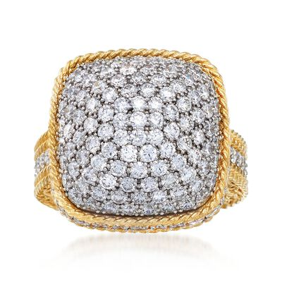 "Roberto Coin ""Barocco"" 3.30 ct. t.w. Diamond Square-Top Dome Ring in 18kt Yellow Gold, , default"